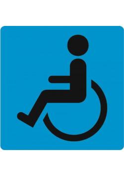 Знак «Доступность для инвалидов в креслах-колясках» на голубом фоне I-03