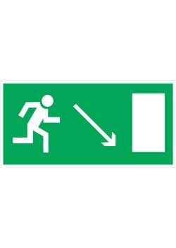 """Знак """"Направление к эвакуационному выходу направо вниз"""" E-07"""