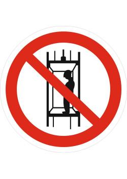"""Знак """"Запрещается подъем (спуск) людей по шахтному стволу (запрещается транспортировка пассажиров"""" P-13"""