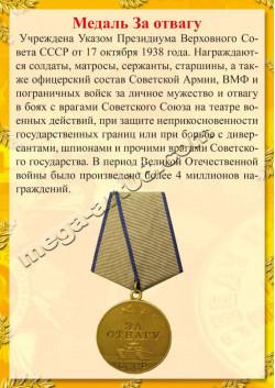 """Постер Медаль за Отвагу из серии """"Награды Победы"""" ПЛ-55"""