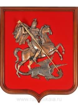 Герб Москвы деревянный на бархате