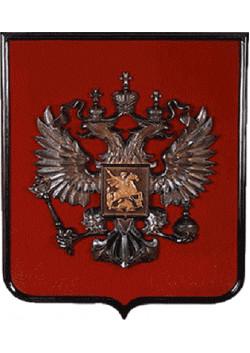Герб России деревянный на бархате