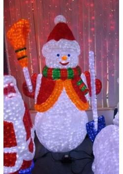 """Объемная световая фигура """"Снеговик с лопатой и метлой"""" 170 см"""