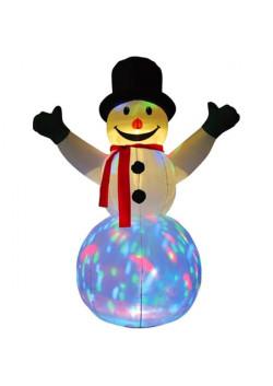 """Надувная новогодняя фигура """"Снеговик с разноцветной подставкой"""" 1,8 м"""