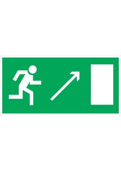"""Знак """"Направление к эвакуационному выходу направо вверх"""" E-05"""