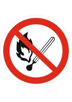 """Знак """"Запрещается пользоваться открытым огнем"""" P-02"""
