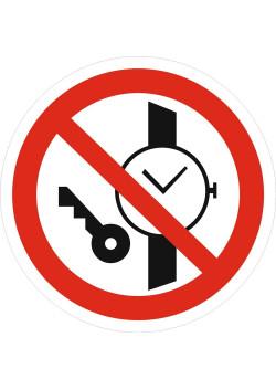 """Знак """"Запрещается иметь при (на) себе металлические предметы (часы и т.п.)"""" P-27"""