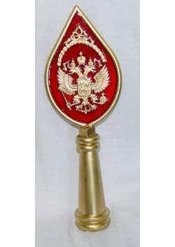 Навершие с гербом и красной заливкой, пластик под золото