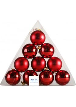 Елочный набор шаров d-6 красные пирамида