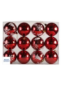 Елочный набор шаров 12 штук d-8 красные