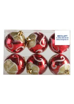 Елочный набор шаров №2 d-6 красные с узором