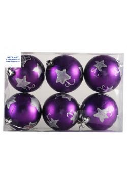 Елочный набор шаров d-7 фиолетовые с узором