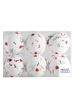 Елочный набор шаров d-7 белые с узором