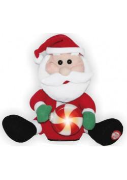 Поющий Санта со светящимся подарком 20 см