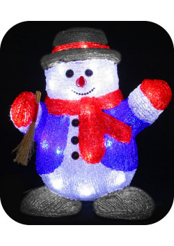 "3D-LED Фигура ""Снеговик с веником"", 30см"