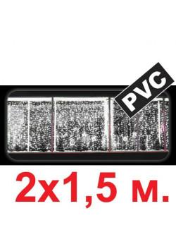 LED-световой занавес ПВХ, белый (2 шнура питания), 2х1.5м