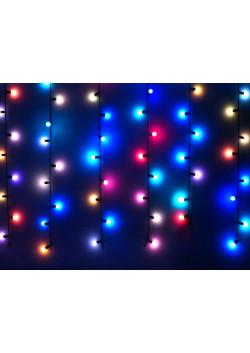 """LED-э.г.-занавес """"Шарики Ø17мм"""" разноцветные, быстро мерцающие, 1х3м"""