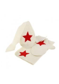 Набор для бани и сауны «Будёновец»: шапка, рукавица, коврик, фетр, белый