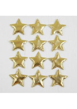 Звёздочки декоративные, набор 12 шт., размер 1 шт. 5,5*5,5 см, цвет золотой