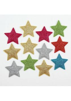 Звездочки декоративные, набор 12 шт, размер 1 шт 5,5*5,5 см, цвета МИКС