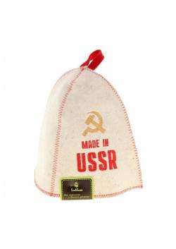 Шапка для бани и сауны с вышивкой «СССР», белая